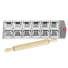12 Platz Ravioli Tablett Set Mit einem Hölzernen Nudelholz Pasta Cutter Gebäck Ravioli-maschine Pan Ravioli Platte