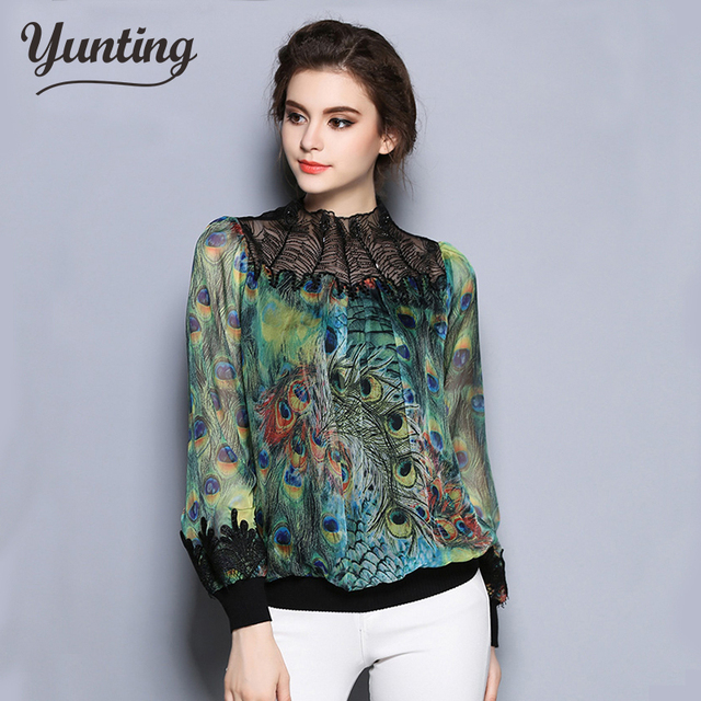 c4a2e8fffc7 Women s Chiffon Tops 2018 New Fashion Summer Style peacock feather printing embroider  Blouses 2XL Women Clothing
