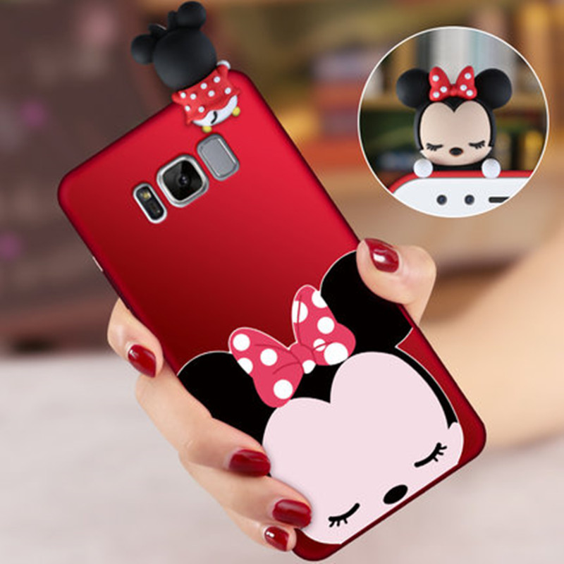 S8 Plus Cute Cartoon 3D Mickey Mouse minnie phone Cases For Samsung Galaxy S8 / S8 Plus soft silicon case back cover + Strap