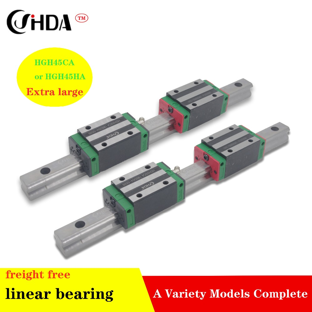 freight free 2Pcs Linear guide+ 4Pcs  linear sliders HGH45CA or HGH45HA standard CNC parts