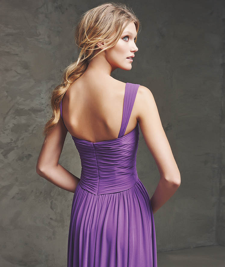 Purple Bridesmaid Dresses Chiffon Pleat Flooe Length Tank Beach ...