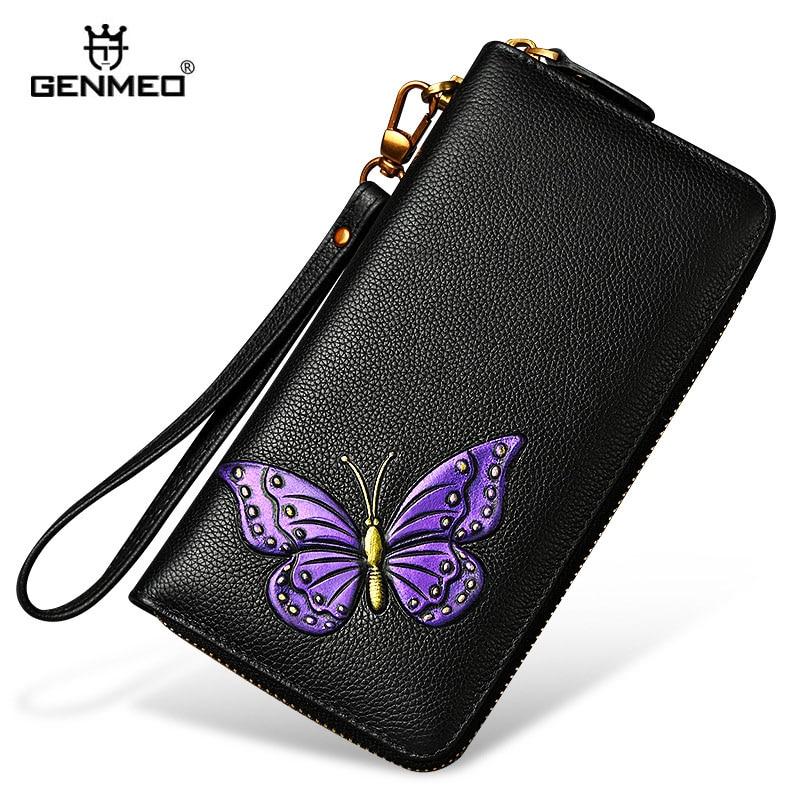 GENMEO New Genuine Leather 3D Butterfly Pattern Wallet Women Cowhide Clutch Dollars Bag Female Coin Purse Bolsa Feminina