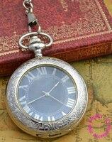 Cena hurtowa dobrej jakości moda shining srebrny szkła powiększającego czytania mechaniczny zegarek kieszonkowy antyczne godzinę