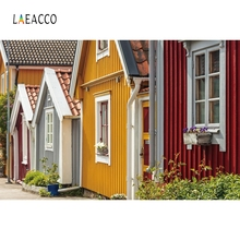 Laeacco Colorful Wooden House Backdrop Baby Portrait Photography Background Customized Photographic Backdrops For Photo Studio