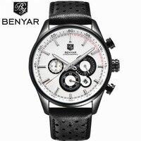 Мужские кварцевые часы BENYAR  водонепроницаемые армейские часы с секундомером  спортивные часы с кожаным ремешком