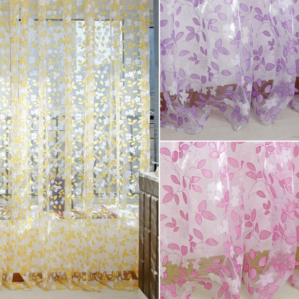 0.95M*2M Tulle Sheer Pastoral Curtain Panel Window Patio Room Divider Scarf