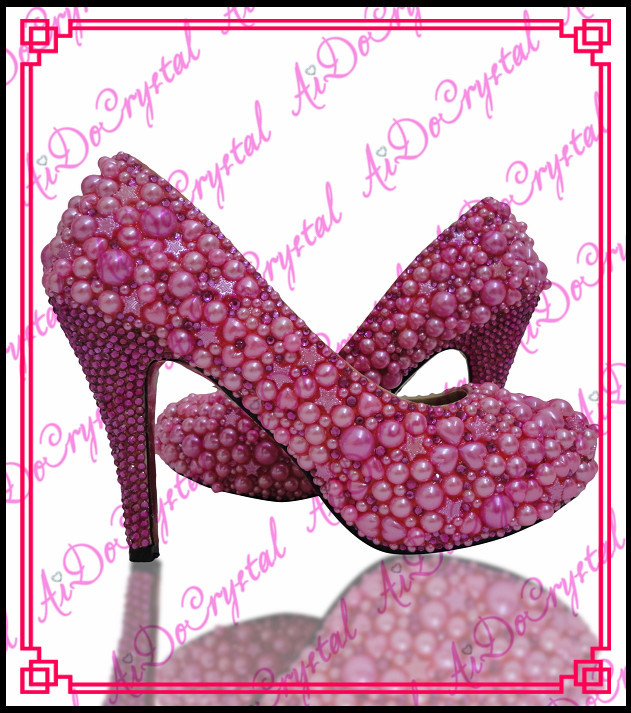 Pink Low Heel Wedding Shoes: Aidocrystal 2015 Hot Sale Handmade Fushcia Pink Pearl