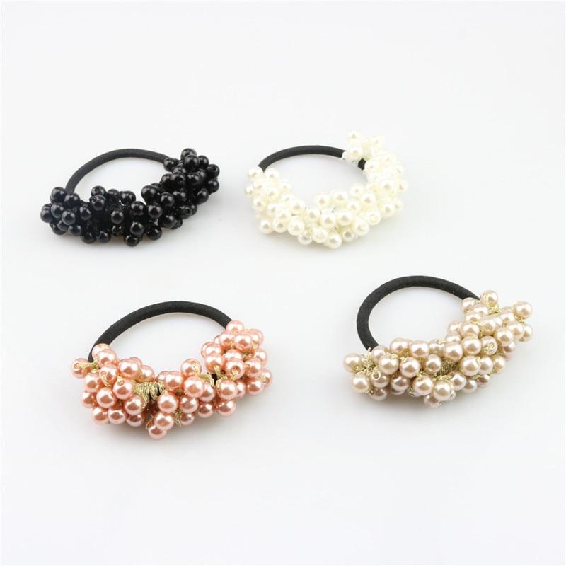 Girls Hair Accessories Rustic Small Fresh Flower Beaded Pearl Headband Rubber Band Tousheng Elastic Hair Bands Durag