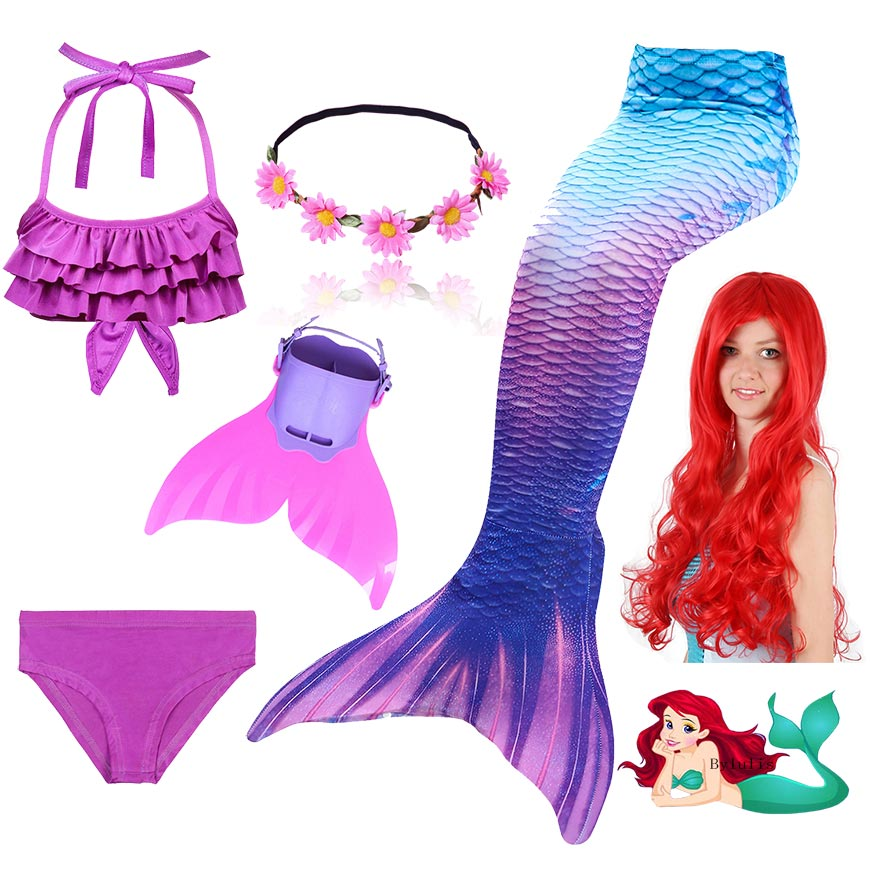 New Kids Ariel Mermaid Tail Swimmable Bathing Suit Bikini Girls Mermaid Swimsuit Costume Mermaid Tail With Monofin Flippers Wig