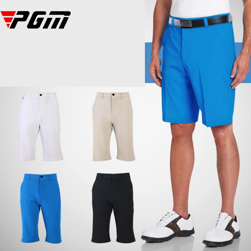 LOGO Brand quality Men Golf shorts Sport Leisure Shorts Belt Solid Navy White Blue Khaki soft elastic breathable Summer Shorts