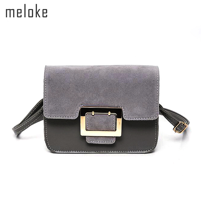 Meloke 2018 hot sales suede patchwork leather shoulder bags brand women crossbody bags phone bags for ladies message bags
