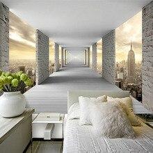 Modern Simple Mural Wallpaper 3D Stereo Geometry City Building