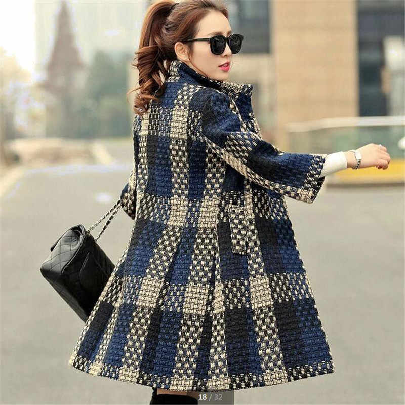 Women coat cashm ere coat Autumn and winter to keep warm large size new grid thick high quality fashion coat coat B061