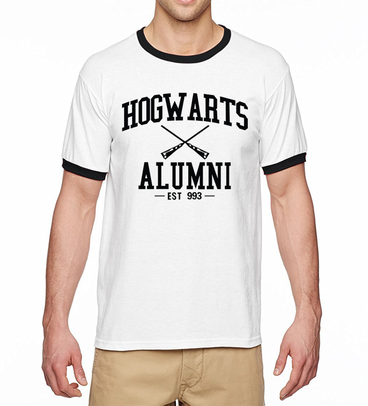 Movie Fans Adult Hogwarts Inspired Magic Alumni Ringer t-Shirts Men 2019 Summer Hip Hop Top Tees 100% Cotton Casual Men t Shirt