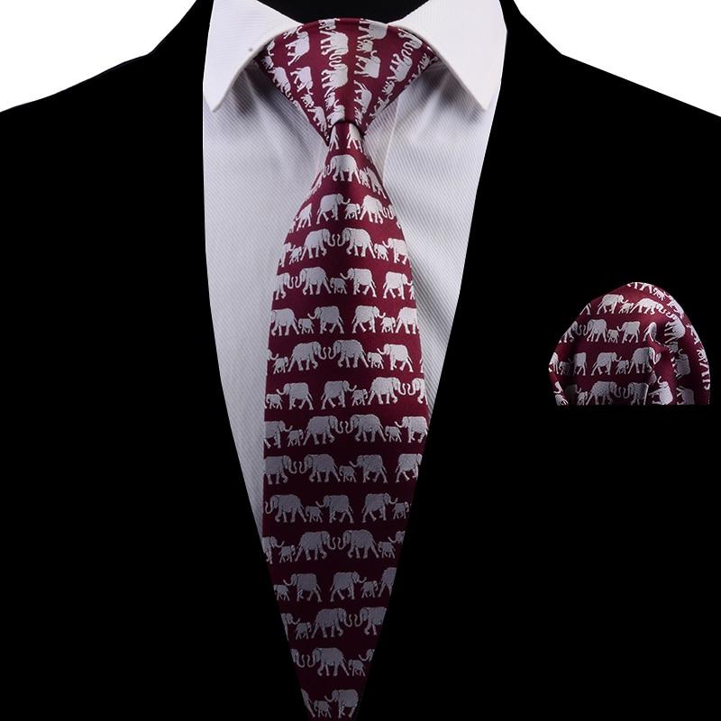 Ricnais New Design Classic Men Tie Elephant Pattern Necktie Silk Red Tie And Pocket Square Party Wedding Handkerchief Set