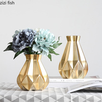 Creative Gold ceramics Nordic style Simple vase Home Decorations Decoration vases for flowers home decoration accessories