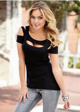 Drop Shipping Black Hollow Out Fashion Womens Summer Vest Top Short Sleeve Blouse Casual Tank Top Shirt NEW women clothing china