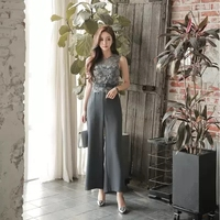 2018 Summer Formal Fashion OL Sleeveless Lace Blouse Top And Loose Pants Work Length Office Lady