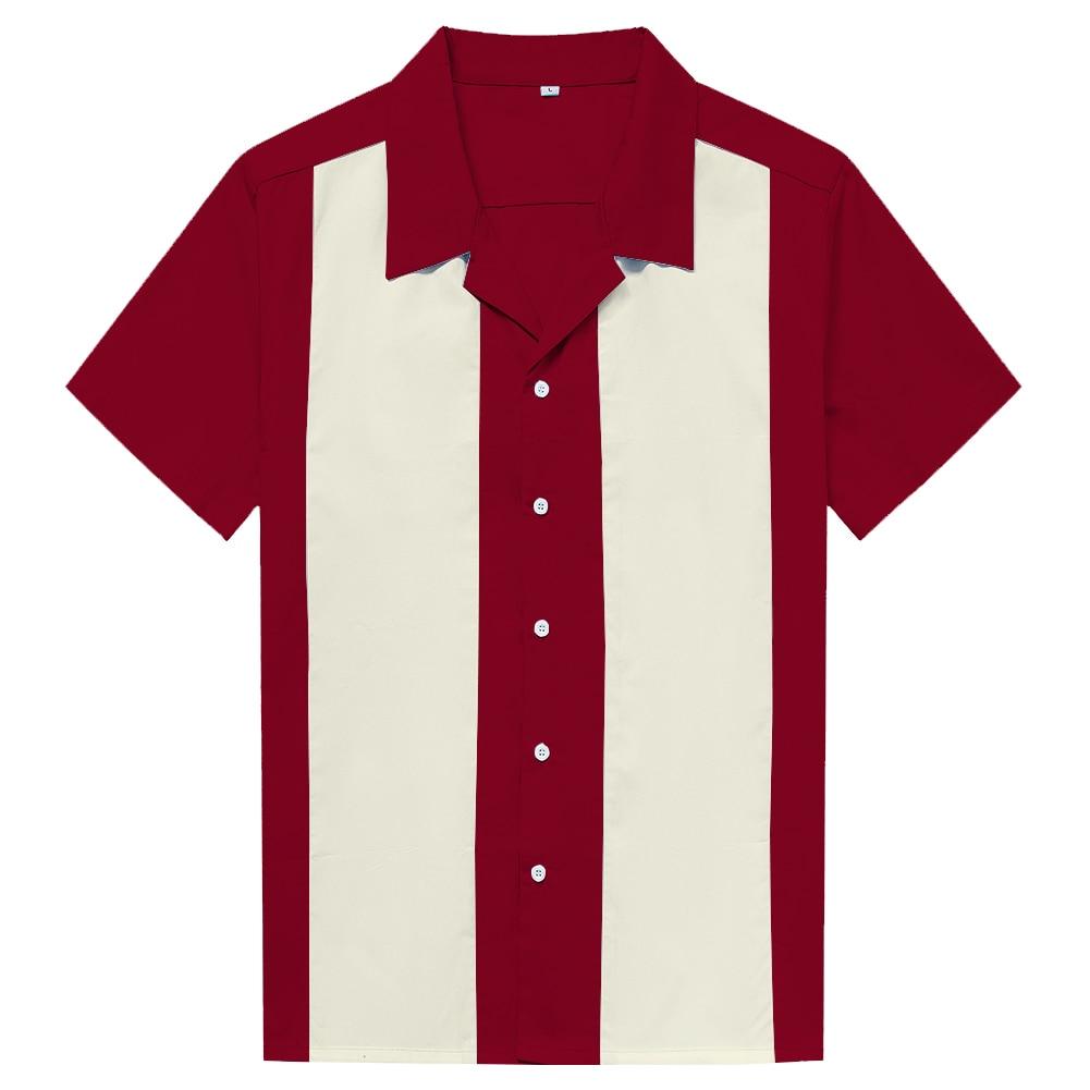 Men Clothes Rock Cotton Marron Ivory Vintage Design Rockabilly High Quality Casual Men Short Sleeve Work Dress Shirts
