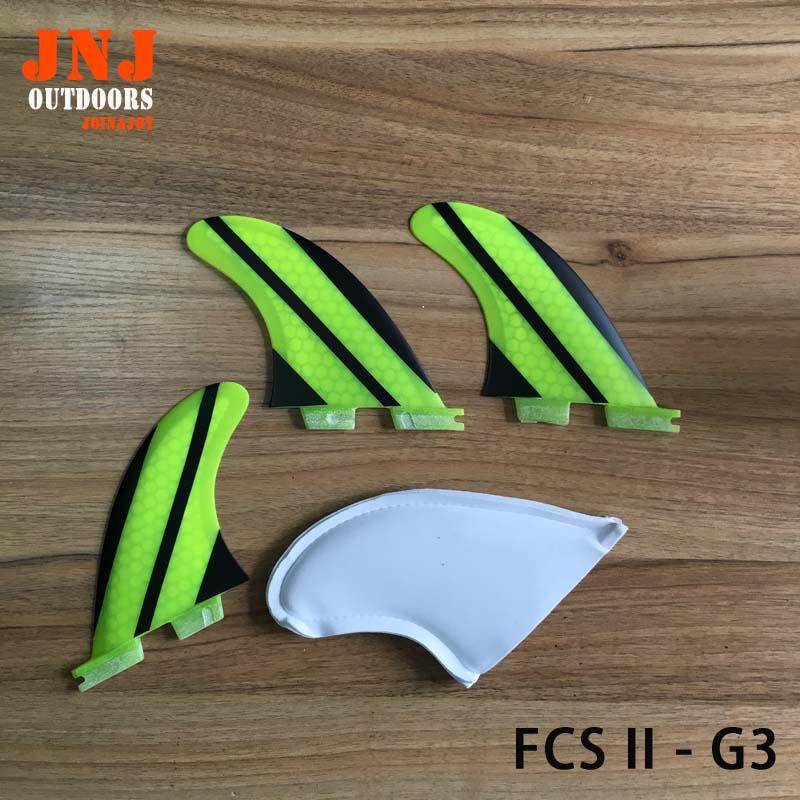 Sangkar gentian kaca paling kuat piawaian surfboard piawai FCS II G3 S sirip 3pcs set