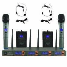 FB V04H2 RU/BR/US складской профессиональный микрофон VHF KTV для вечерние, микрофонная система, 2 портативных и 2 беспроводных гарнитуры, микрофон для караоке