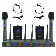 FB-V04H2 RU/BR/US Warehoue Professional Microphone VHF KTV Party Mic System 2 Handheld and 2 Headset Wireless Karaoke Microphone
