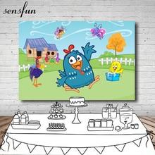Sensfun Fondo de vinilo para estudio fotográfico personalizado, 7x5 pies, gallina pintada, nubes, cielo, granja, cabaña, valla de patio