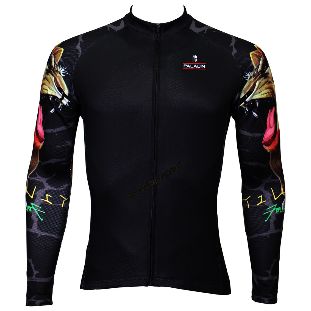 Black lion arm bike riding jersey for winter long sleeved dirt bike jerseys cool for yong boys larger size