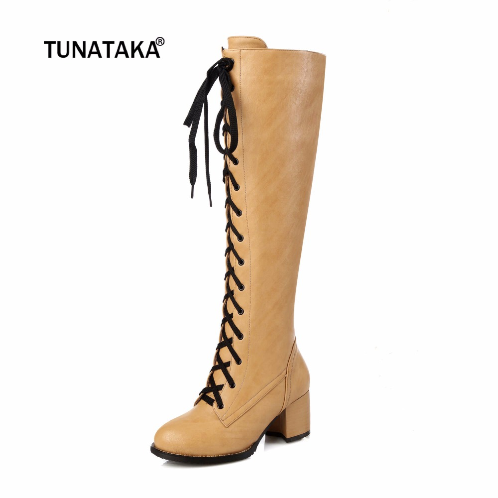 Women Winter Thick High Heel Knee High Boots Fashion Lace Up Zip Round Toe Shoes Women Plus Size 34-43 Yellow Black enmayla winter autumn round toe low heel knee high boots women flats lace up shoes woman rider brown black suede motorcycle boot