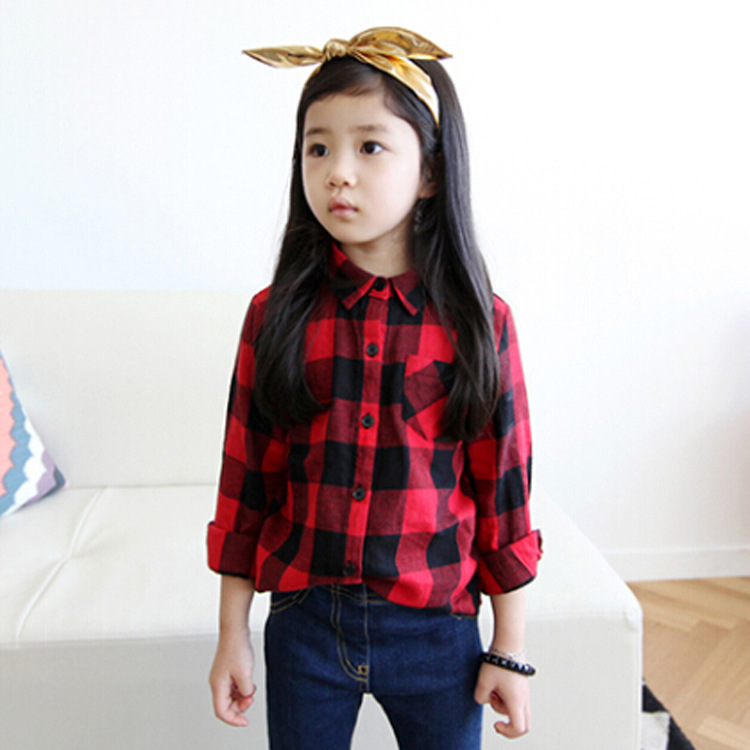 autumn fashion kids blouse shirt simple individuality long sleeves good quality classic red plaid children girl shirt blouse