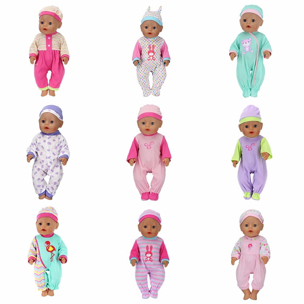 Fashion Dolls Jump Suits With The Hat Fit For 43cm Baby Born Zapf Doll Reborn Baby Clothes 17inch Doll Accessories