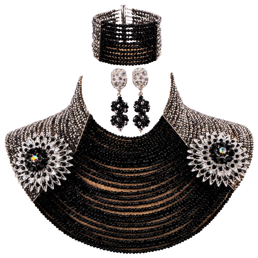 New 25 Layers Silver and Black African Necklace Nigerian Beads Jewelry Set Crystal Wedding Party Jewelry Sets 25R09New 25 Layers Silver and Black African Necklace Nigerian Beads Jewelry Set Crystal Wedding Party Jewelry Sets 25R09