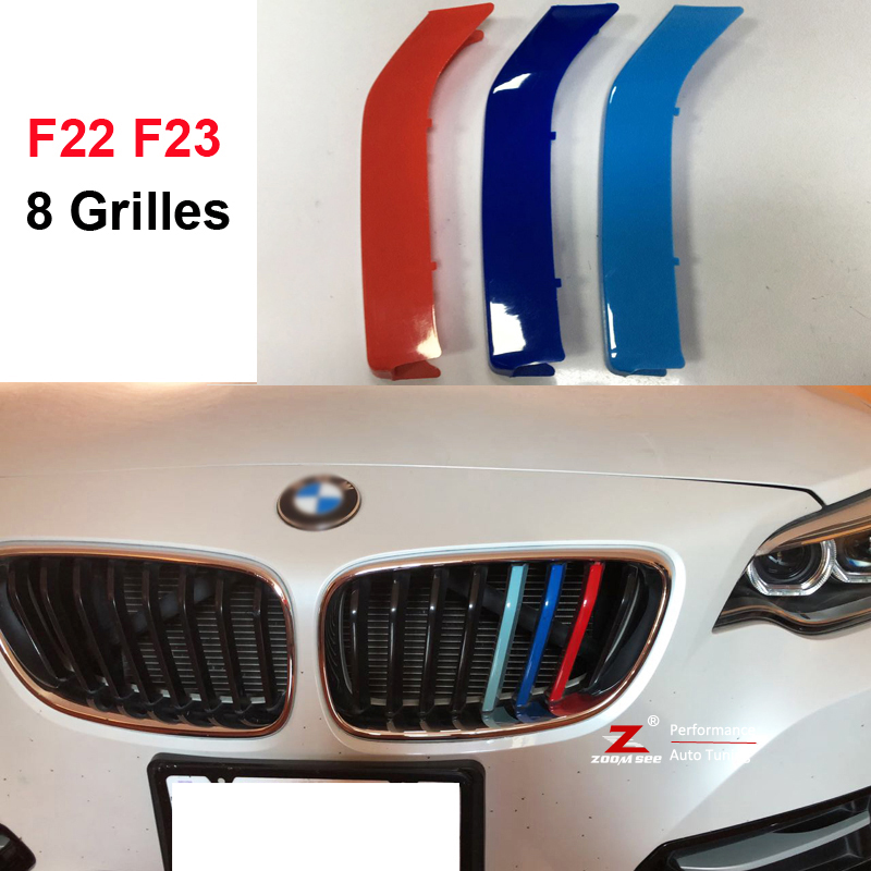 3D M Front Grille Trim Strips grill Cover Stickers for 2014-2017 BMW 2 series coupe F22 F23 220i 225i 228i M235i M240i (8 grill) for bmw 2 series f22 f23 coupe