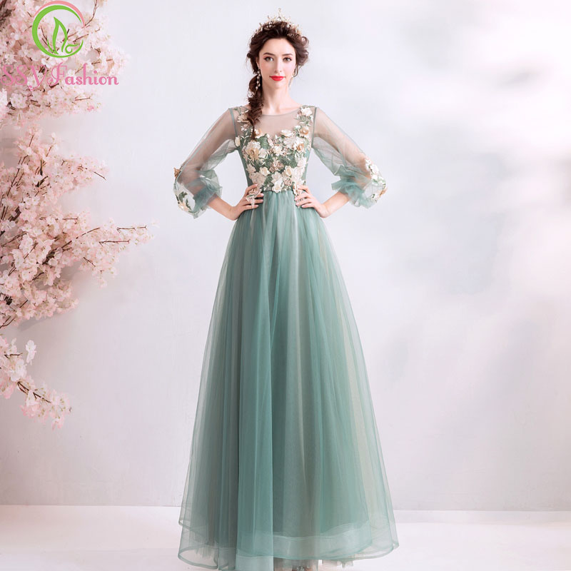 SSYFashion New Banquet Elegant Evening Dress Long Sleeves Floor-length Lace Embroidery Flower Formal Party Gowns Robe De Soiree