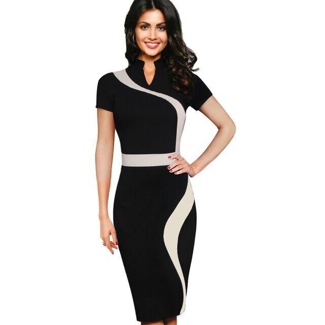 Summer Dresses Women 95 cotton Black Solid Open Side Beach Dress Office Dresses Casual Jurken font