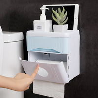 Toilet free punching portable toilet paper tray Kitchen simple double layer hand tray Waterproof and anti drug storage box