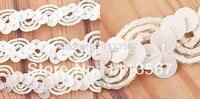 Großhandel 30 yard Weiß Nylon Pailletten Perlen Spitze Band Paillettenbesatz Nähen Trim Nähen Auf Hochzeitskleid T12