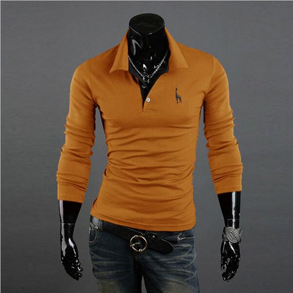 Men's   Polo   Shirt Slim Fit Long Sleeve Solid Shirts Fashion Casual Tee Tops Men Camisa   Polo   Masculina Plus Size XXXL