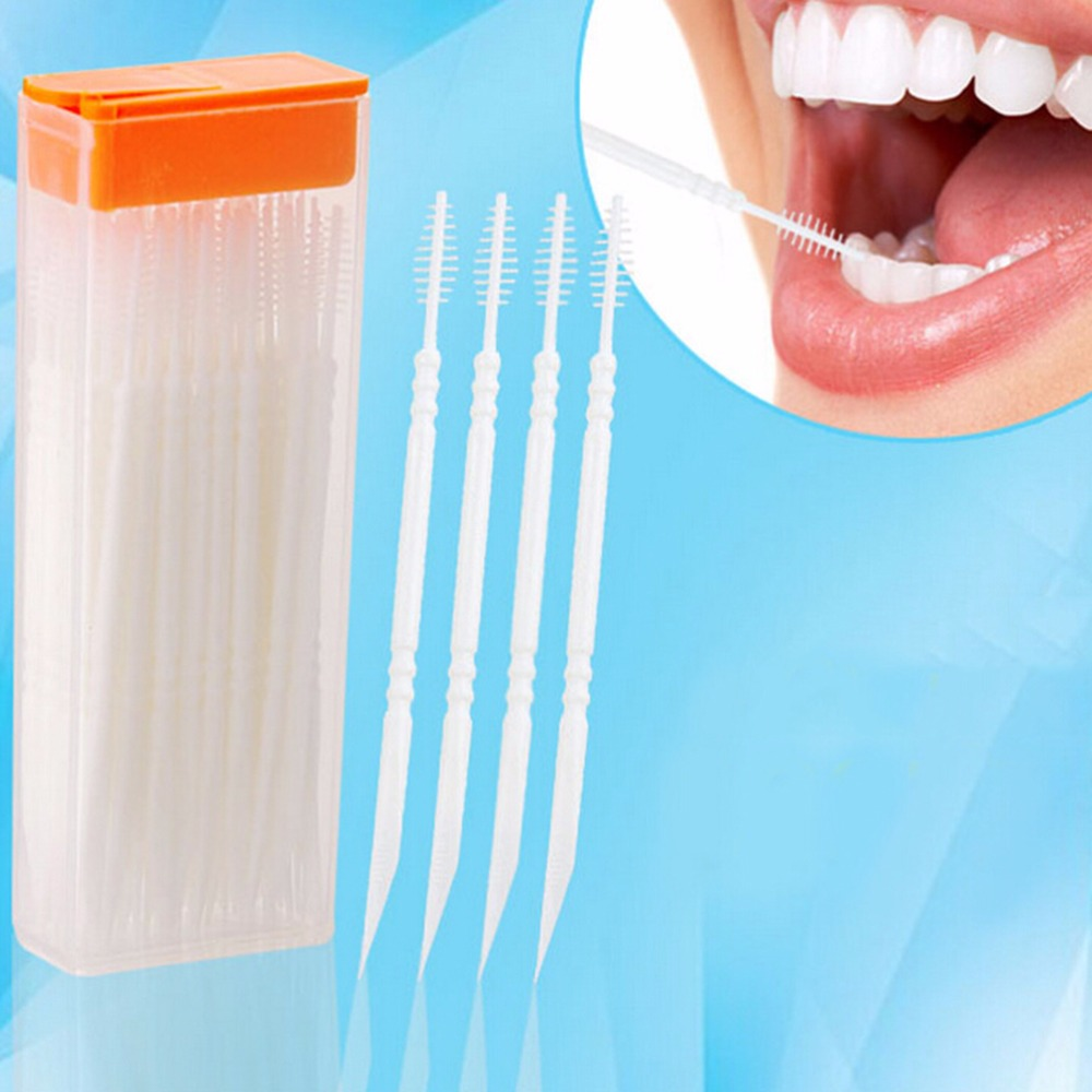 50pcs/box Double Head Dental Floss Interdental Toothpick Floss Pick Brush Brush Teeth Stick Dental Oral Care Toothpicks Hot Sale