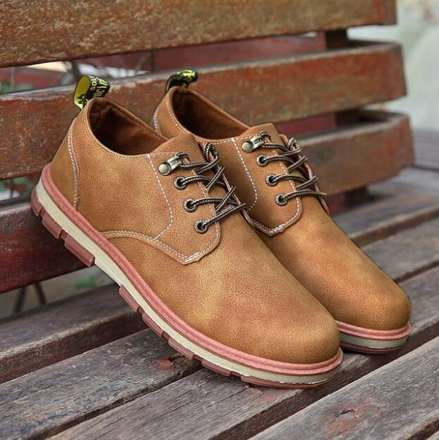 2018 Hot Sale Casual Shoes Men Spring Autumn KF201-24 Waterproof Solid Lace-up Man Fashion Flat With Pu Leather Shoes SIZE 36-45