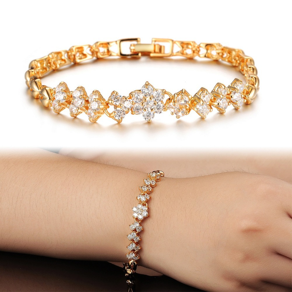New Fashion 18K Real Gold Bracelets For Women Luxury White Stones ...