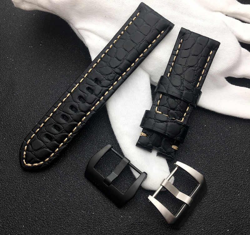 Luxury Brand watachband Black Real Leather Handmade Thick VINTAGE Wrist Watch Band Strap Brushed Buckle For Panerai strap