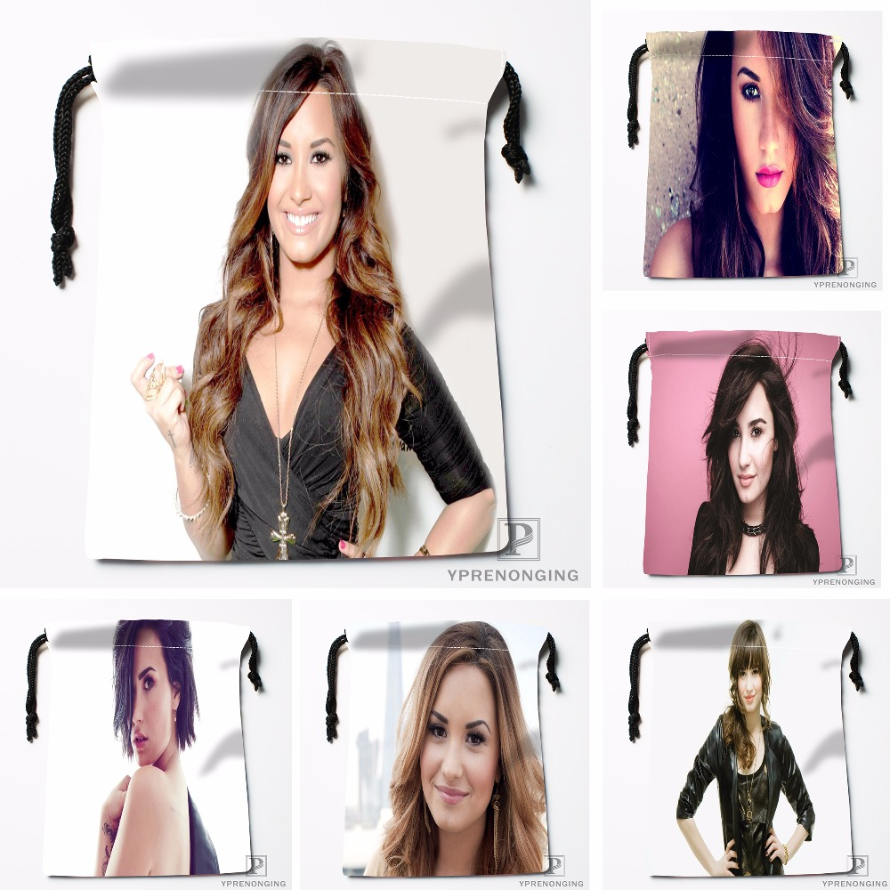 Custom Demi Lovato Drawstring Bags Printing Fashion Travel Storage Mini Pouch Swim Hiking Toy Bag Size 18x22cm#180412-11-12