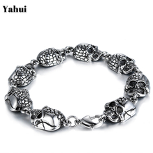 YaHui stainless steel mens biker bracelet skull fashion jewelry gifts for men vintage accessories