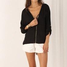 Chiffon Office Tops Full Sleeve Blouses 2017 V-neck