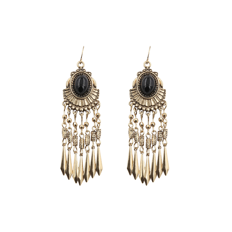 Earrings for Women Vintage Brincos Bohemian Long Burnished Gold