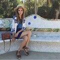 2016 de La Moda Bordado Flor Azul de Impresión Floja Ocasional de la Chaqueta de Las Mujeres Retro Vintage Étnico Chaqueta de La Manera de Las Mujeres