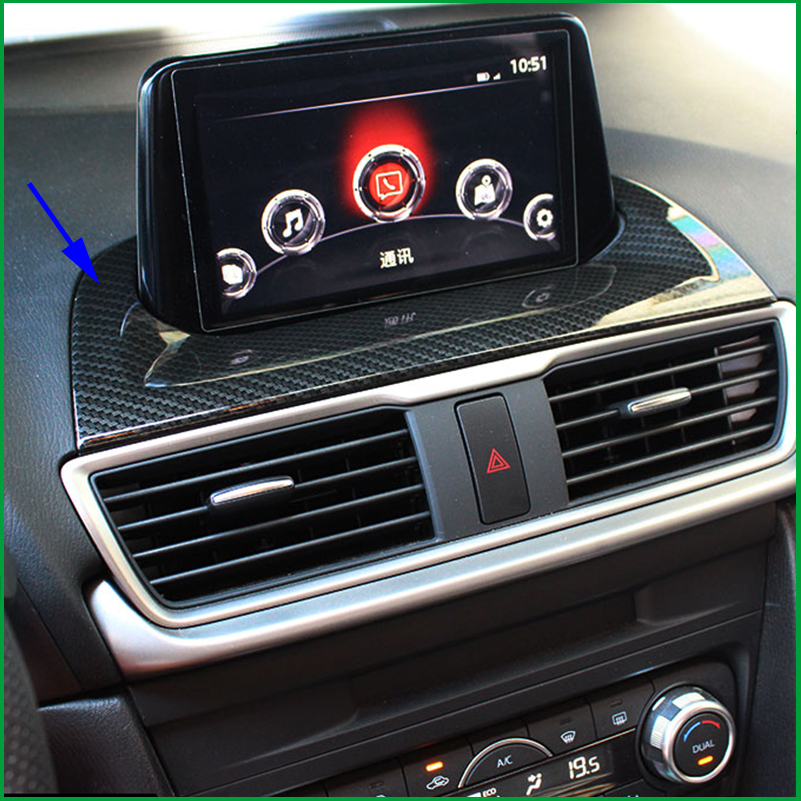 Car-styling ACCESSORIES FIT FOR MAZDA 3 AXELA M3 2017 CENTER DASHBOARD NAVI NAVIGATION PANEL CHROME COVER TRIM FRAME GARNISH car styling door window lift switch button panel cover armrest trim garnish sticker fit for mazda 3 axela lhd car accessories