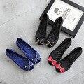 Bowtie Ballet Flats Mulheres Casuais Doces Sapatos Único Verão Suave Dedo Do Pé aberto Sandálias Deslizamento de Moda Senhoras Tamanho Grande 41 mocassins
