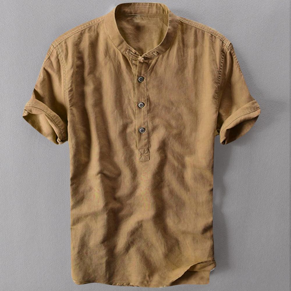 남성 캐주얼 셔츠 반소매 코튼 린넨 셔츠 남성 느슨한 칼라 매달려 염색 그라데이션 셔츠 Chemise Homme Drop shipping c